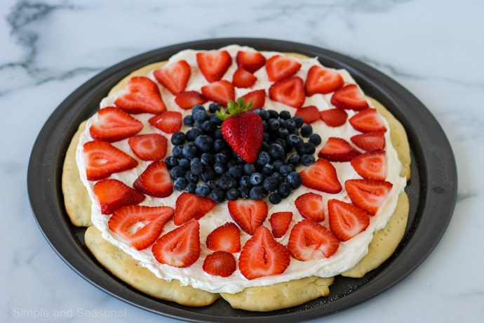 whole rhodes roll fruit pizza on pizza pan