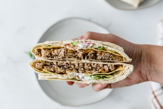 copycat crunchwrap supreme opened to show center filling