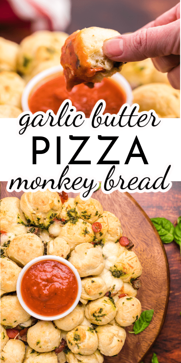 Homemade dough, familiar pizza flavors and a delicious garlic butter sauce come together to make Garlic Butter Pizza Monkey Bread. Change up pizza night this week! via @nmburk