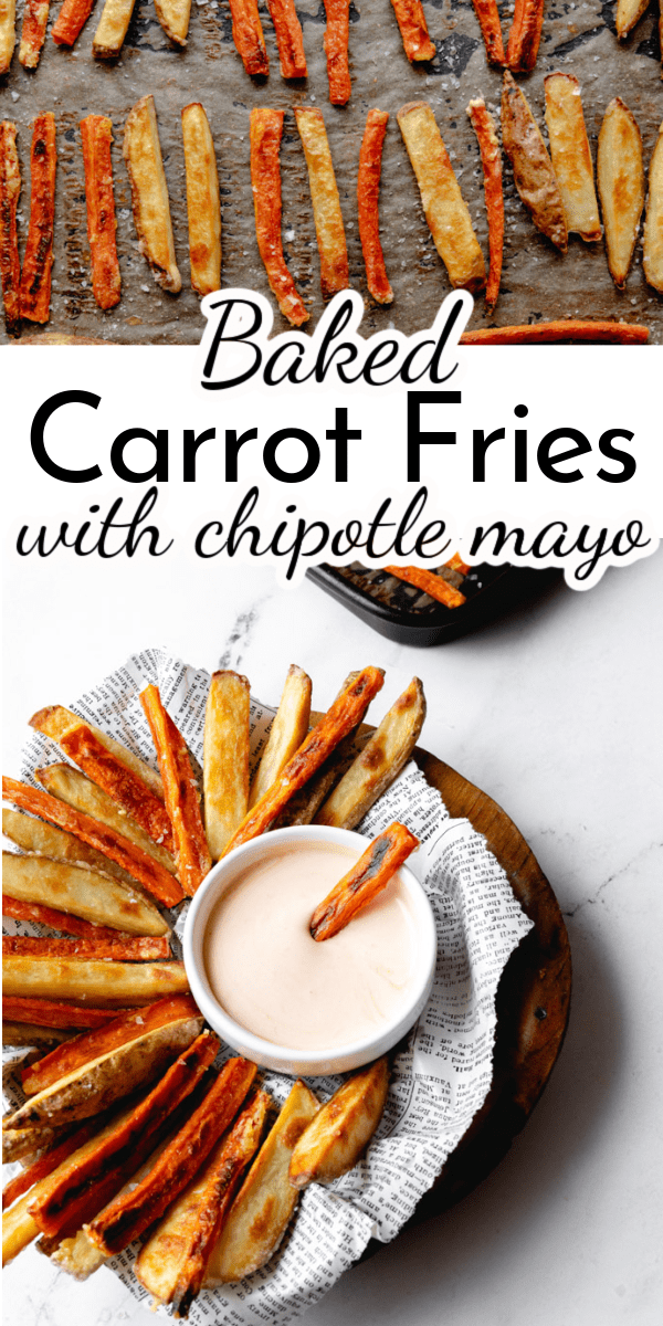 Crispy Baked Carrot Fries (along with traditional potato fries) are the perfect side dish to any meal! Serve them with a delicious chipotle mayo dipping sauce that keeps you coming back for more! via @nmburk