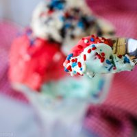 spoonful of ice red, white and blue ice cream