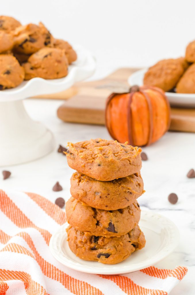 stack of baked pumpkin cookies