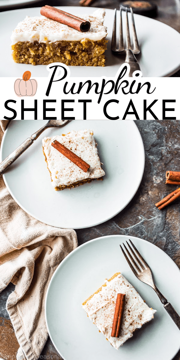 Welcome fall with this deliciously moist Pumpkin Sheet Cake! The cream cheese frosting complements pumpkin cake perfectly. It's also perfect for freezing! via @nmburk