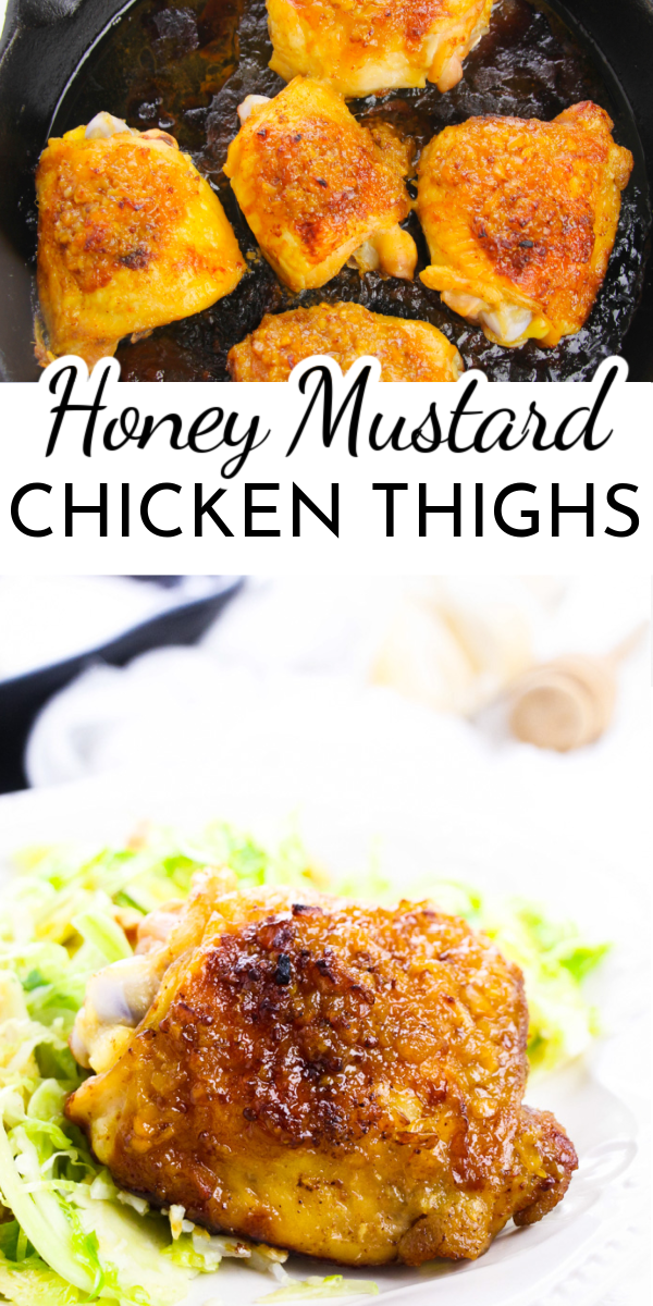 Seared in a skillet and then baked with a delicious sauce, Honey Mustard Chicken Thighs are perfect for any weeknight family dinner. via @nmburk
