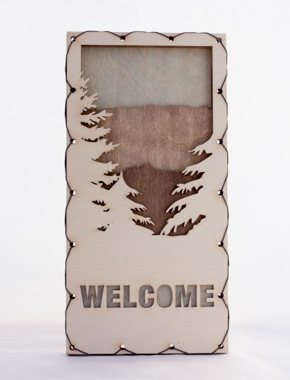 Welcome Sign with Mountains Home Decor with four layers of wood