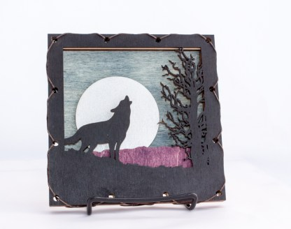 Small Wolf Home Decor with four layers of wood