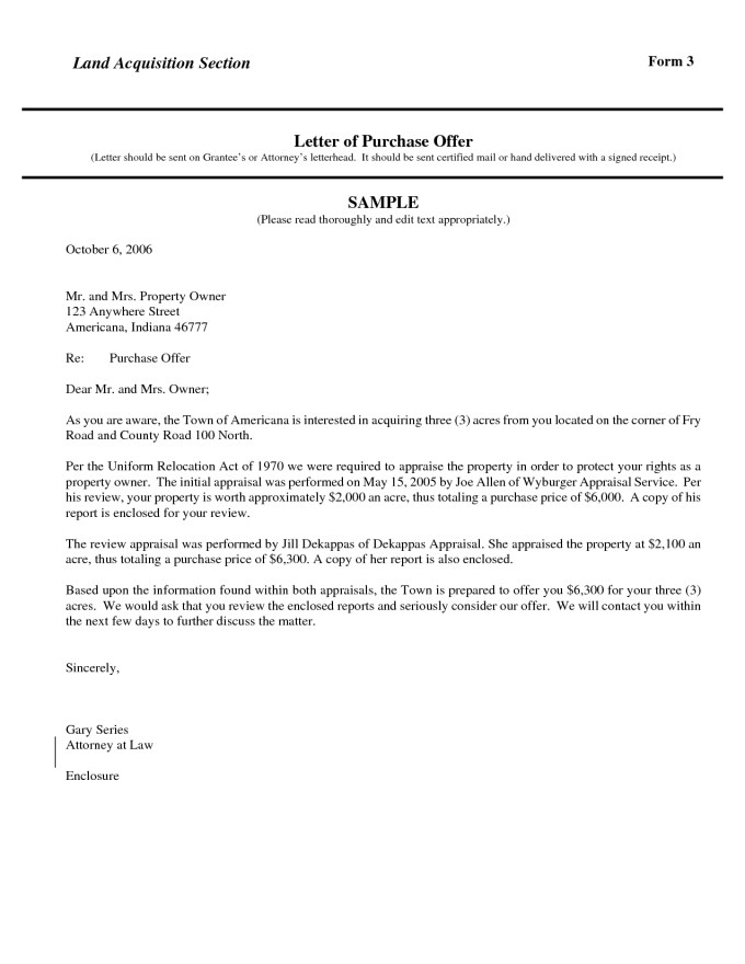 land purchase offer letter template samples collection
