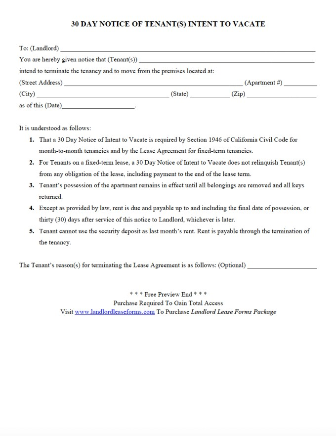 30 Day Notice To Vacate Letter Tenant Template Examples