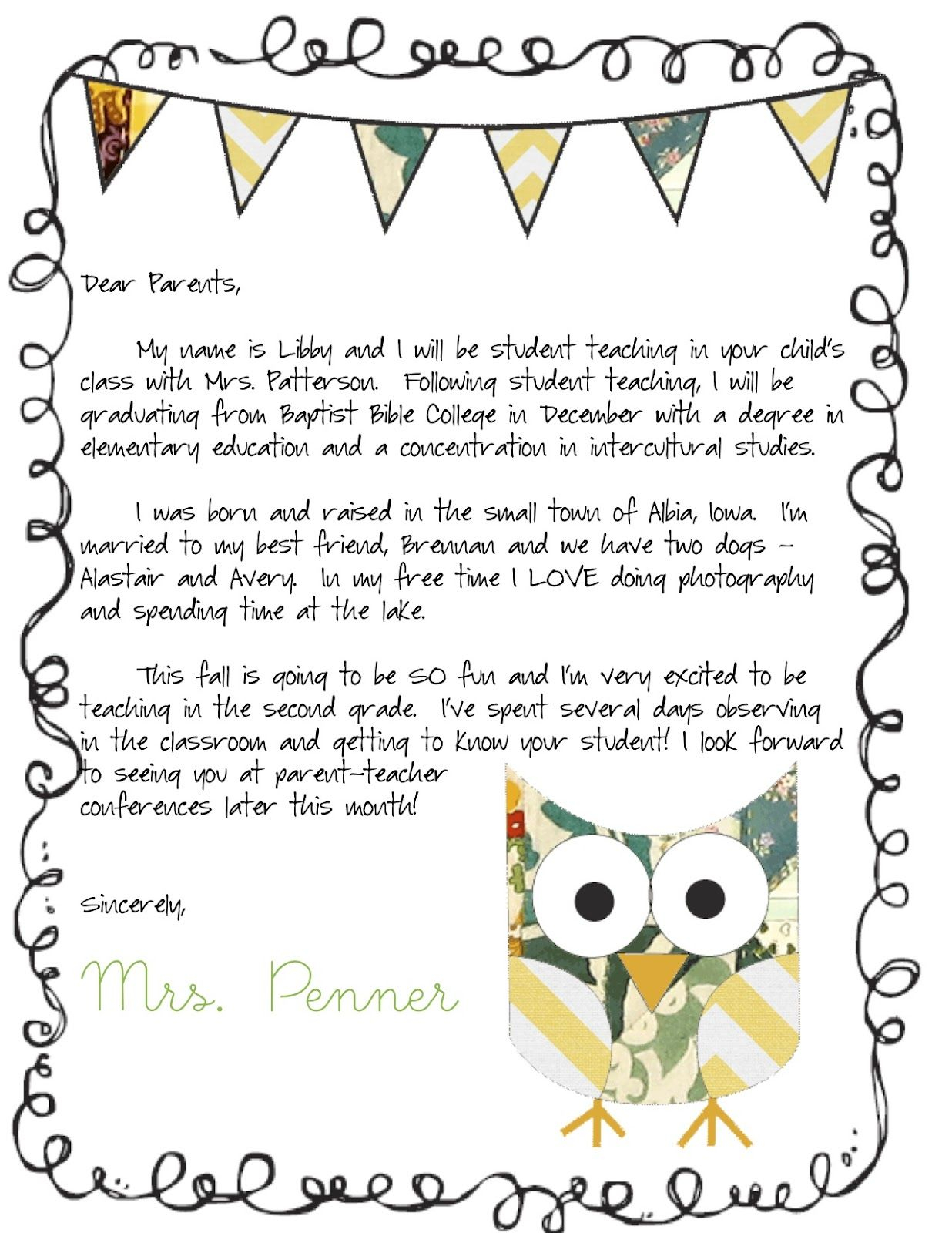 Preschool Welcome Letter To Parents From Teacher Template Samples