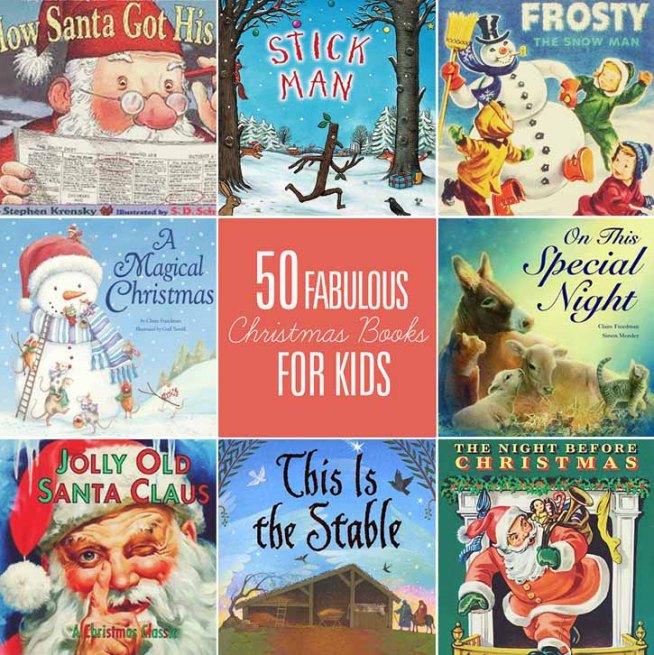 List of 50 Christmas Books for Kids with printable list