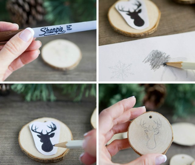 Create Faux Wood Burned Christmas Tree Ornaments Without Any Special Tools Complete How To