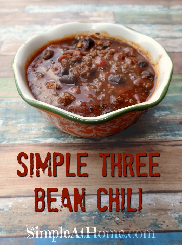 Quick and simple Three Bean Chili the whole family will love.