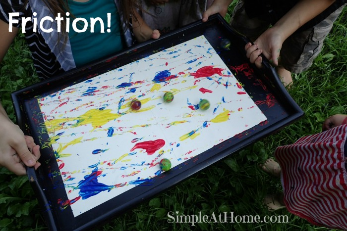 painting with friction, art for kids, science for kids, exploring friction