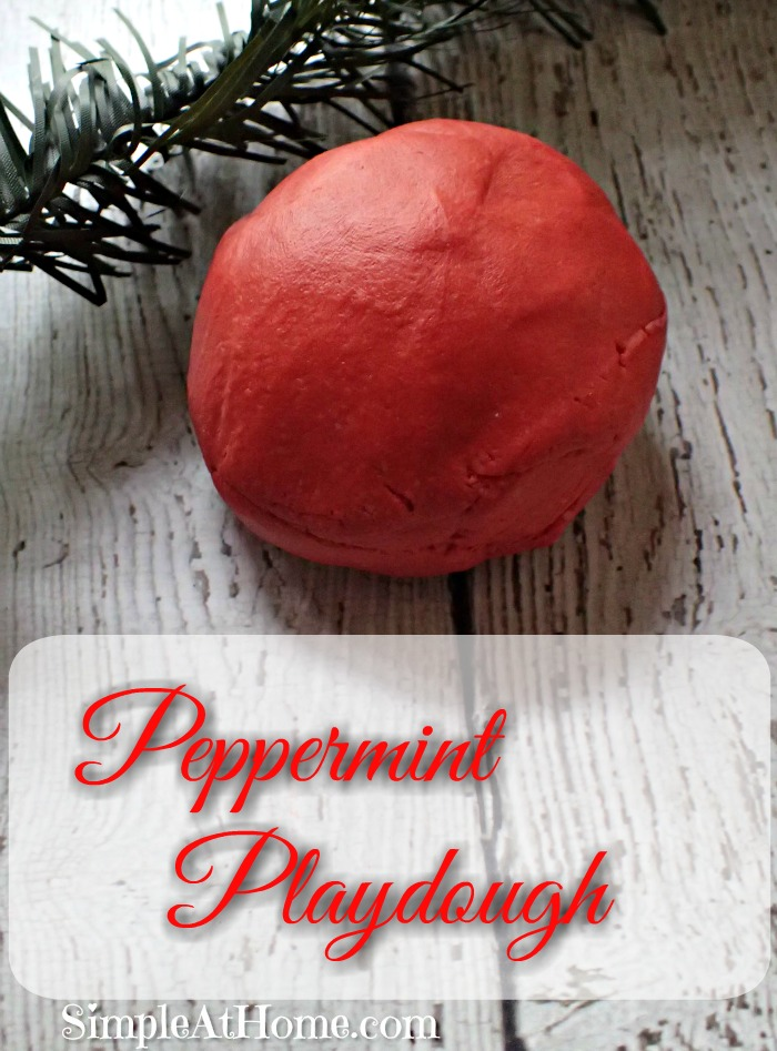 This homemade Peppermint Playdough will keep kids busy.
