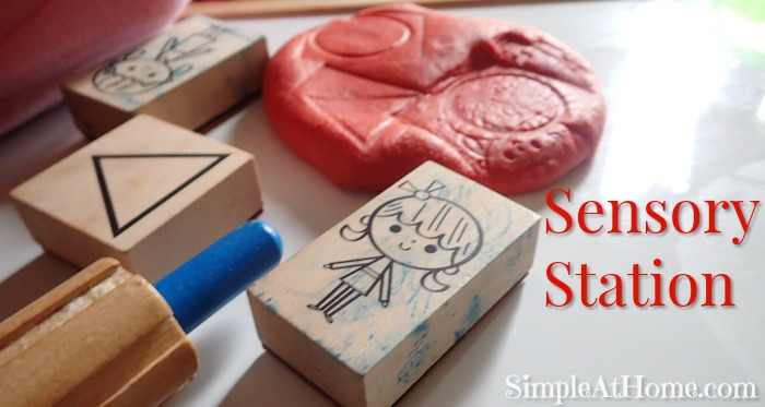 Playdough and rubber stamps sensory station