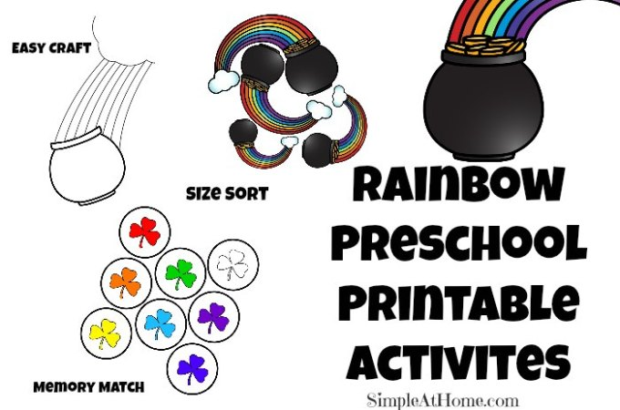Rainbow Preschool Printable Activities for Saint Patrick's Day