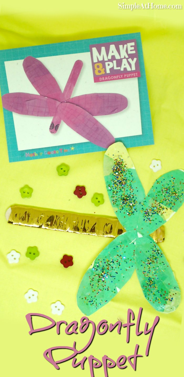Dragonfly puppet craft with jumbo popsicle stick base and a hint of sparkle
