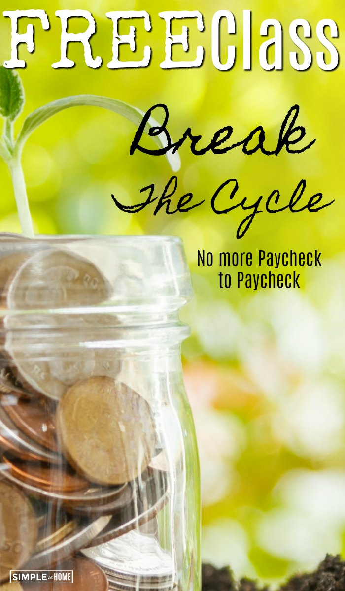 Free online class to stop the the paycheck to paycheck cycle. Thrive with this FREE email program that will help you earn monre money, save more money, and make the most of what you have.