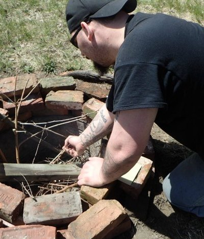 Building a fire pit with found materials