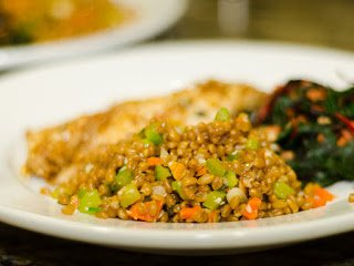 Wheatberry and Almond Salad on the plate