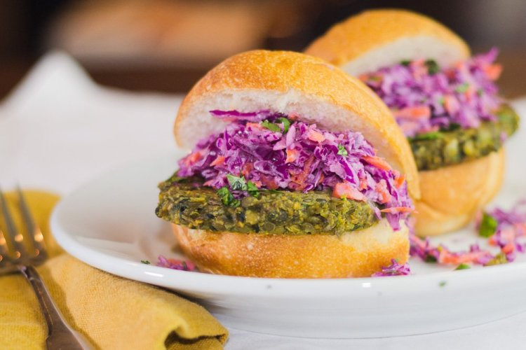 Curried Lentil Burgers with Red Cabbage Slaw