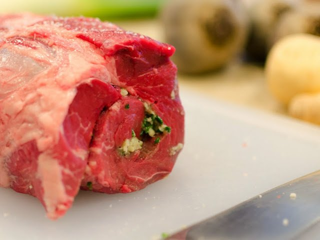 Beef Tenderloin Stuffed with a Garlic Horseradish Paste