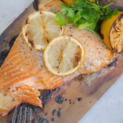 Slow Roasted Salmon on a Cedar Plank with Lemons and Herbs