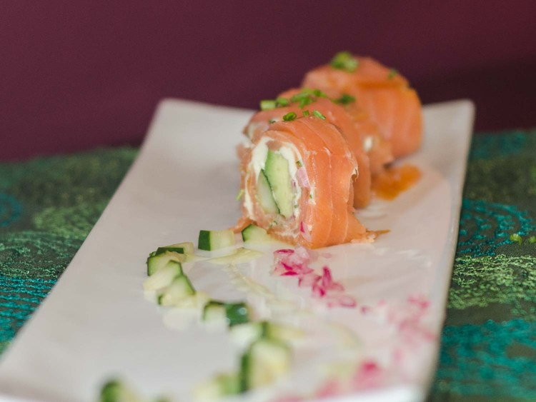 Smoked Salmon Rolls with Cucumber, Red Onions, Avocado and a Compound Butter
