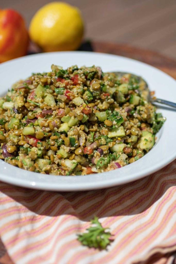 Bowl with Mediterranean Lentil Salad