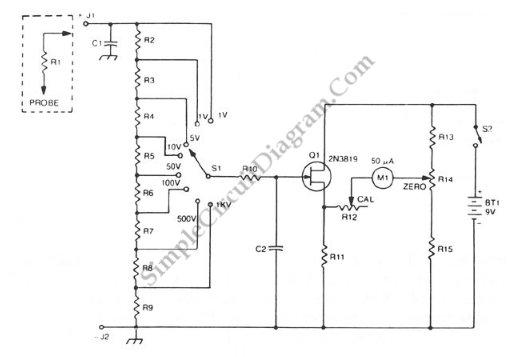 FET Buffered Analog Voltmeter