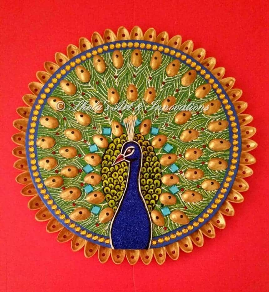How To Make Peacock Wall Decor Made With Pista Shells