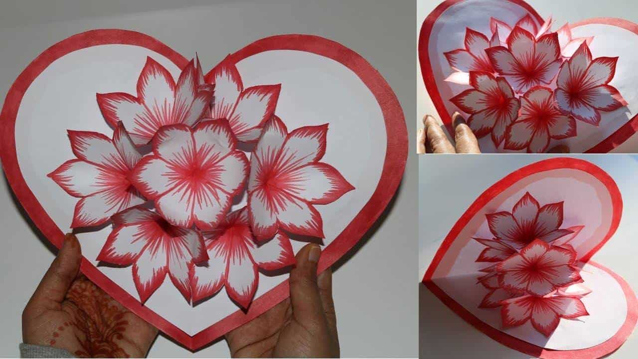 How To Make Flower Pop Up Card For Valentines Day