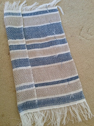 Striped towel before wet finishing