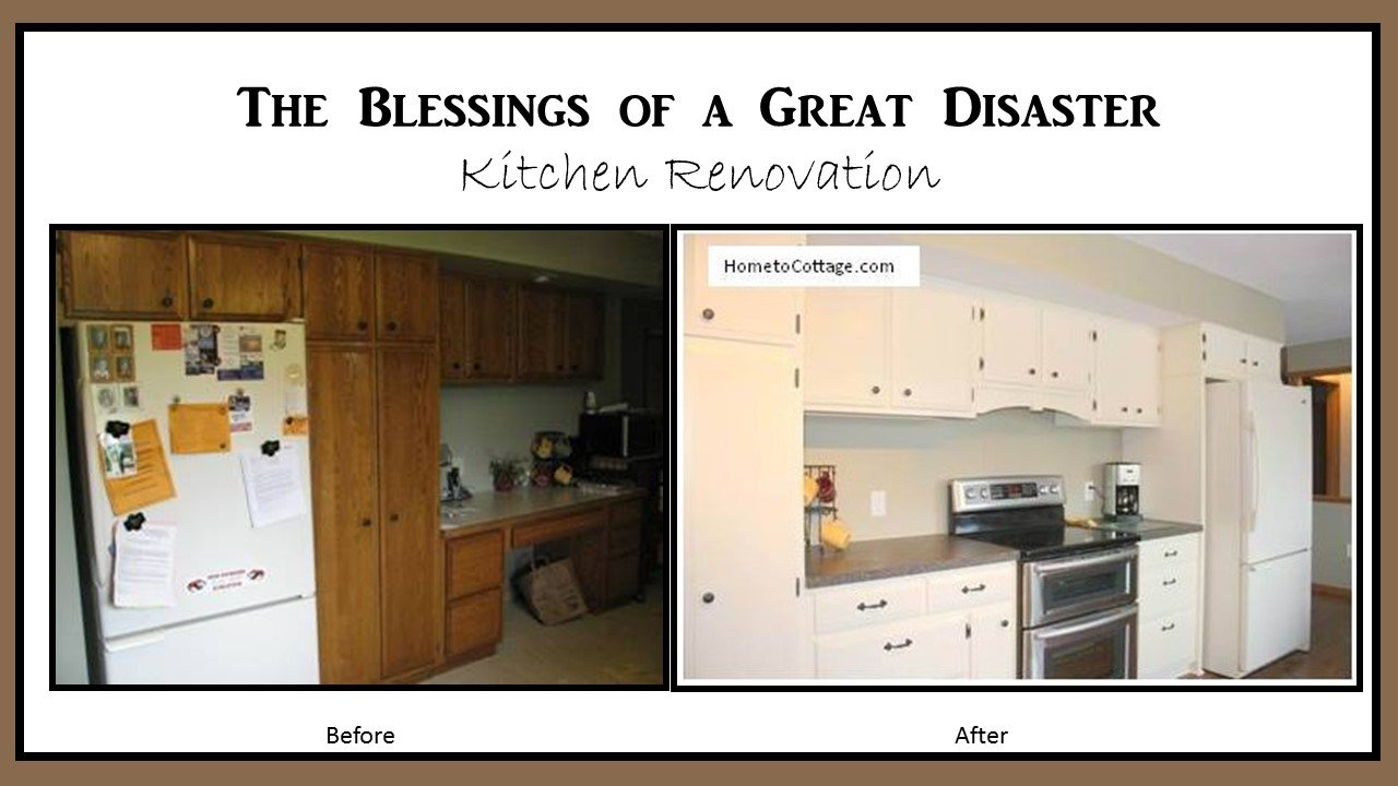 HometoCottage.com the blessing of a great disaster, kitchen renovation before and after
