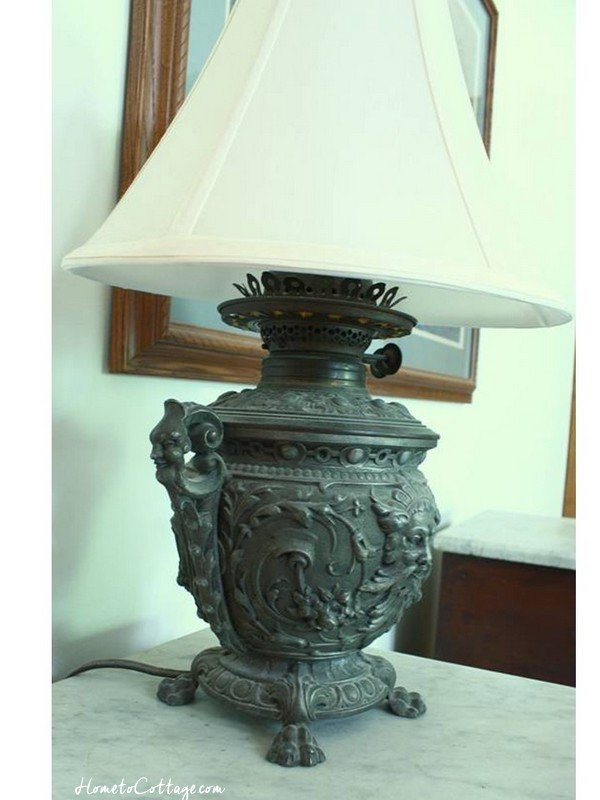 HometoCottage.com victorian lamp with fabric shade