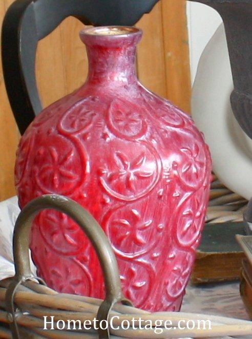 HometoCottage.com ruby red glass vase