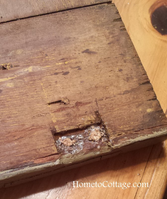 HometoCottage.com toothpicks and glue filled hole