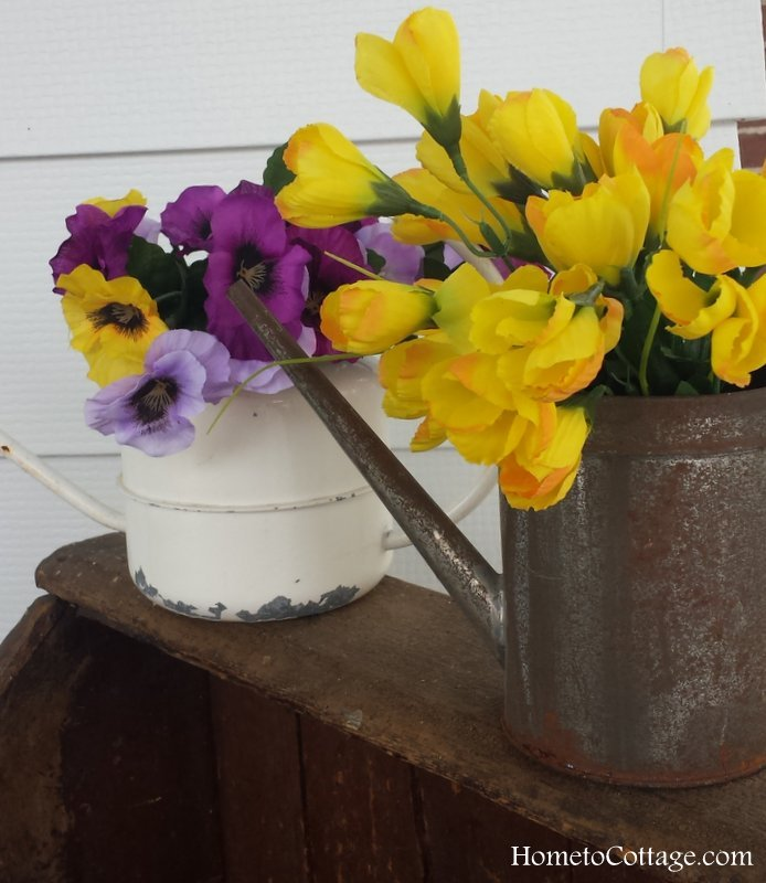 HometoCottage.com small vintage watering cans