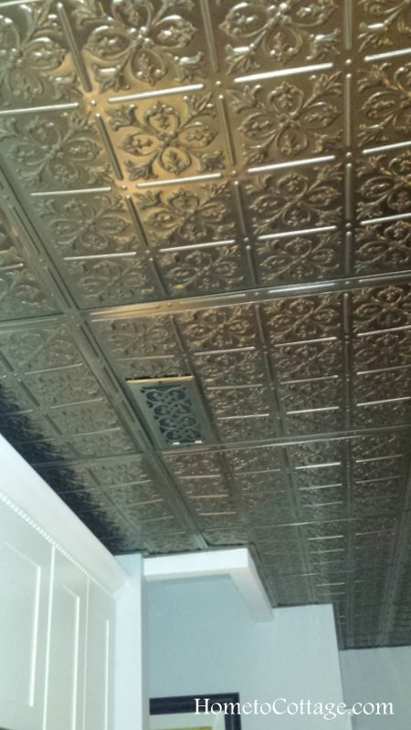HometoCottage.com kitchen faux tin ceiling with exhaust fan