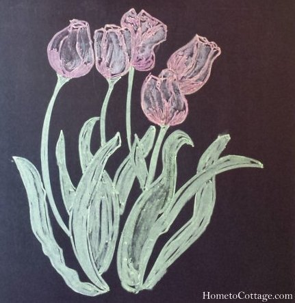 HometoCottage.com tulip chalkboard art