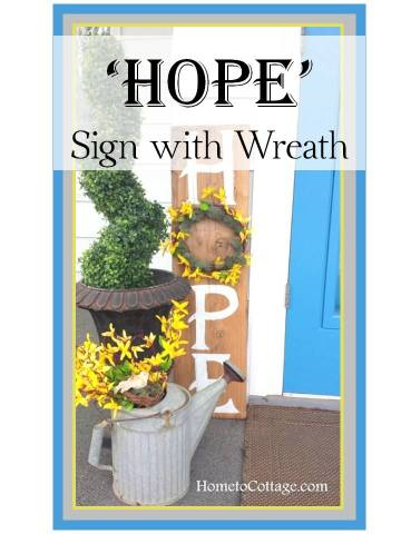 HometoCottage.com HOPE sign with wreath