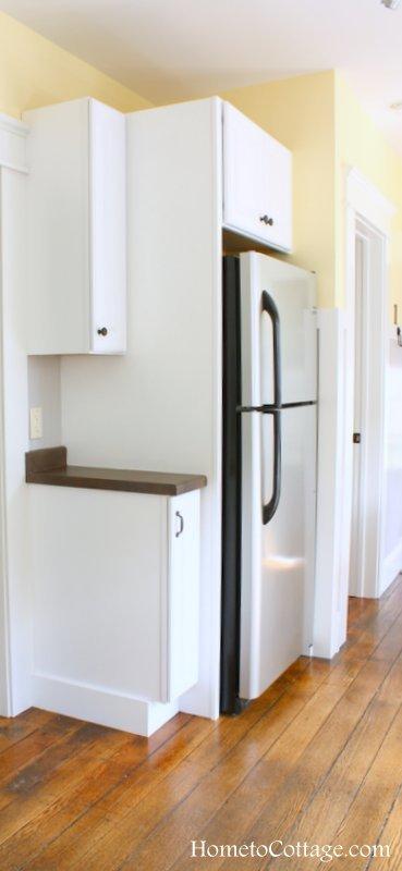 HometoCottage.com brick cottage kitchen done fridge area