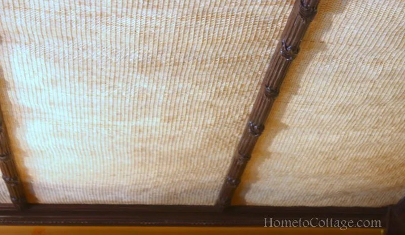 HometoCottage.com woven material ceiling treatment