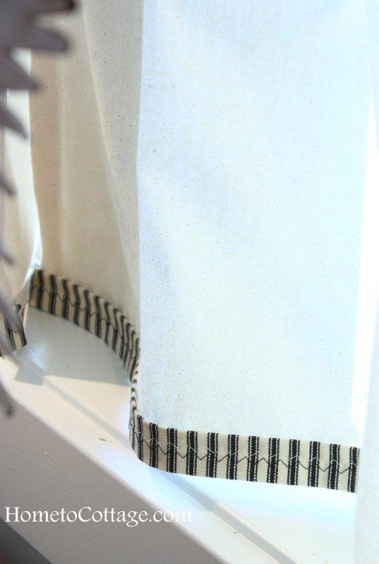 HometoCottage.com cafe curtain trim detail