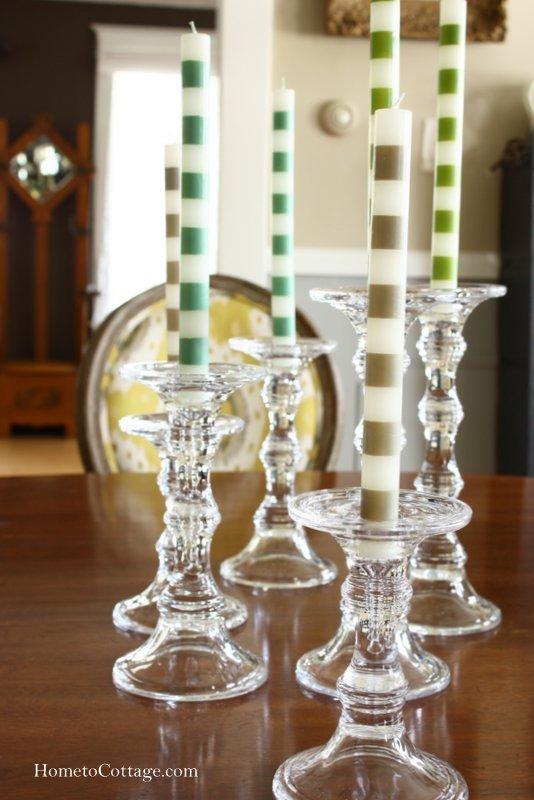HometoCottage.com vary height of candlesticks