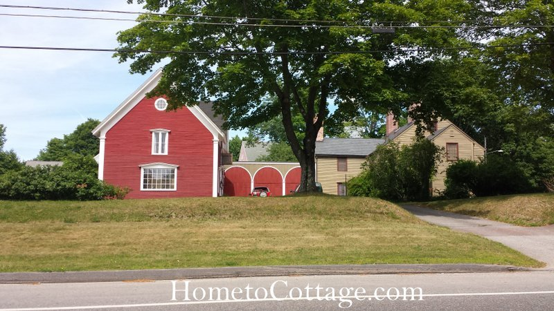 HometoCottage.com red barn with arched design ell