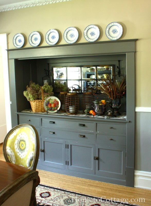 HometoCottage.com Autumn Arranging Built in Buffet
