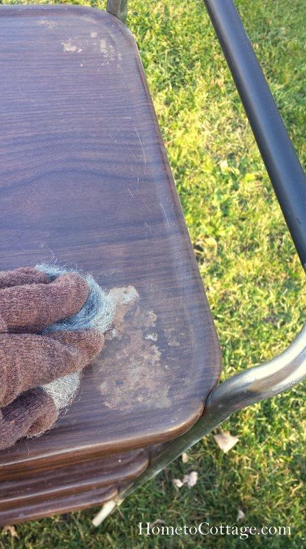 HometoCottage.com steel wool sanding
