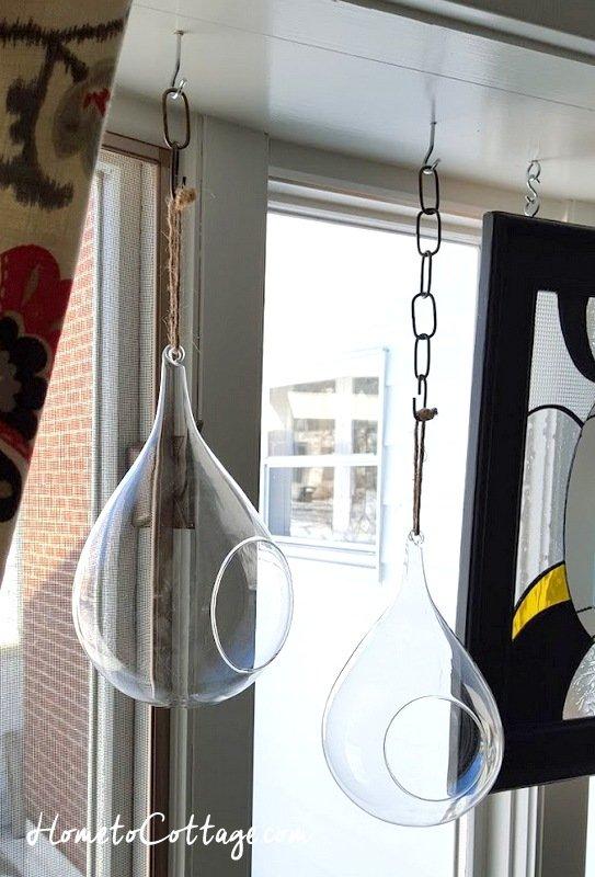 HometoCottage.com empty terrariums hung up
