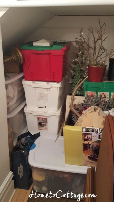 HometoCottage.com Christmas decor packed away